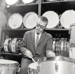 Drummer Joe Morello at the Ludwig Drum Factory