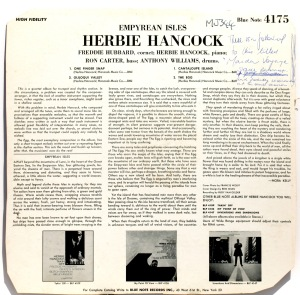 Liner notes from a Herbie Hancock LP.